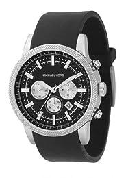 Mkors MK8040 stainless steel round case black chrono dial white sub dials black PU strap