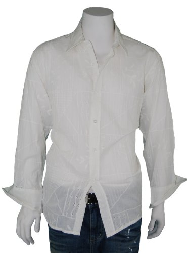Modern Men's Long Sleeve 100% Cotton Shirt Embroidery Design G-C603D-1 White-Off White