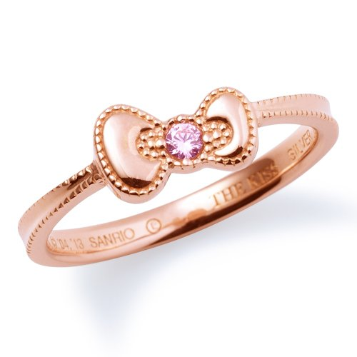 [/ Kiss couples] THE KISS COUPLE's KITTY-18CB No. 11 [Hello Kitty collaboration: cubic / zirconia Carat pink gold coated Ribbon silver ring