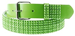 Q Collection Faux Leather Pyramid Studded Belt - Cool Designer Belt for Men and Women - Quality Construction, Trendy Design - Mini Studs Green , Medium
