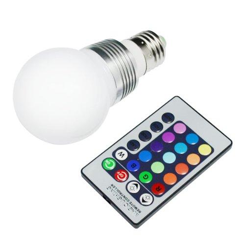 Colorful Ac 110V-220V E27 Base 3W Rgb Led 7 Colors Change Light Ball Lamp With Remote Control