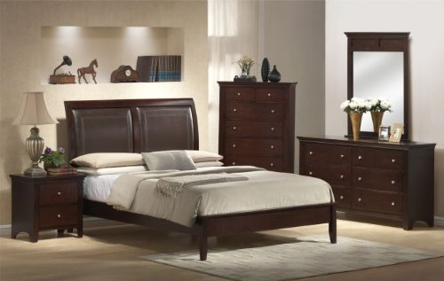 Lovely Inland Empire Furniture Brown Faux Leather and Solid Wood Platform Bed Set