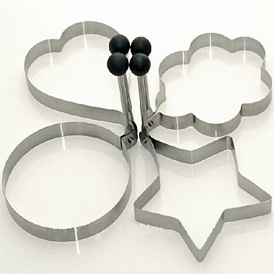 LWW Fashion Stainless Steel Love Heart Round Pentagram Star Plum Flower Fry Pan Egg Mould Wholesale
