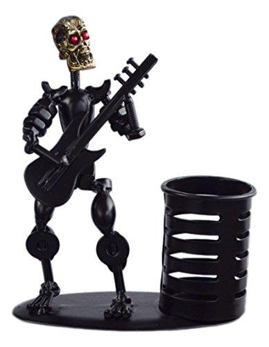 Metal Black Art Hand-made Skull Musician Pen Container Holder Desk Decoration (Electric Guitar) A05521 (Handmade Halloween Decorations)