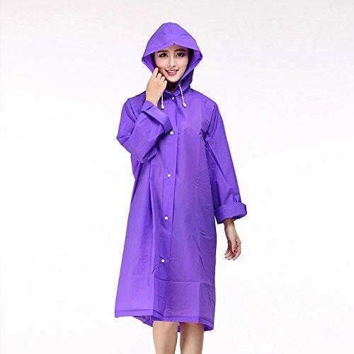 FosFun WWT-03 Moda EVA impermeabile con cappuccio per uomini e donne indumenti impermeabili impermeabile esterno del ginocchio Poncho Sopra la lunghezza cappotto di pioggia (viola)