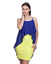 Glam Dollz Women's Poly Georgette Regular Fit Top (Medium,Blue)