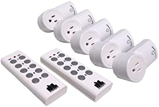 Etekcity® 5 Pack Auto-programmable Wireless Remote Control Outlet Plug Dimmer Switch Light Switch w/ 2 remotes(Battery included),1-Year Warranty,Works Through Walls Up To 100 feet For Household Appliances Lamps, Lighting & Electrical Equipment