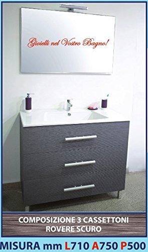 LUISA 28 - Composizione mobile ROVERE SCURO 3 cassettoni, lavello ABS, specchiera e lampada led 710mm