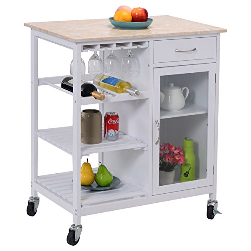 Eight24hours Portable Kitchen Rolling Cart Faux Marble Top Island Serving Utility /Cabinet (Wooden Cabinet On Wheels compare prices)