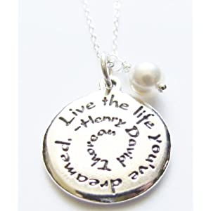 Inspirational Jewelry Necklace Live The Life You've Dreamed Sterling Silver Charm 18″ Graduation Gift