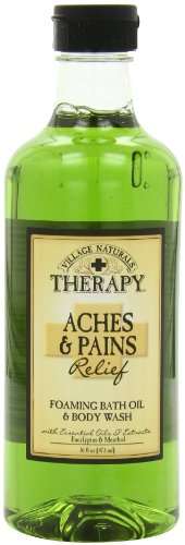 Village Naturals Therapy Foaming Bath Oil Aches & Pains 16 Oz.