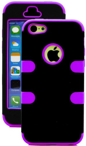 Mylife (Tm) Violet Purple + Black 3 Layer (Hybrid Flex Gel) Grip Case For New Apple Iphone 5C Touch Phone (External 2 Piece Full Body Defender Armor Rubberized Shell + Internal Gel Fit Silicone Flex Protector + Lifetime Waranty + Sealed Inside Mylife Auth