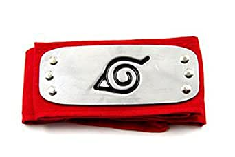 Amazon.com: NARUTO Cosplay Konoha Leaf Village Red Headband: Clothing