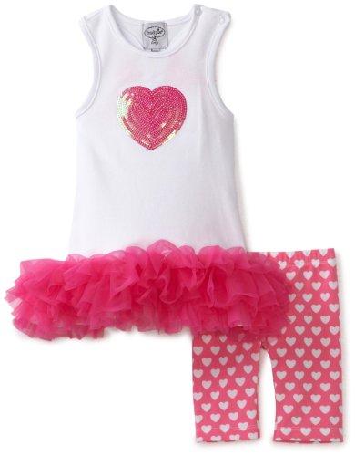 Mud Pie Baby-Girls Newborn Heart Tunic And Biker Short Set, Pink/White, 9-12 Months front-1019128