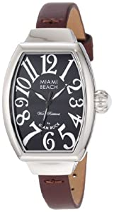 Glam Rock Miami Beach Art Deco MBD27068 mm Stainless Steel Case Brown Leather Mineral Women's Watch