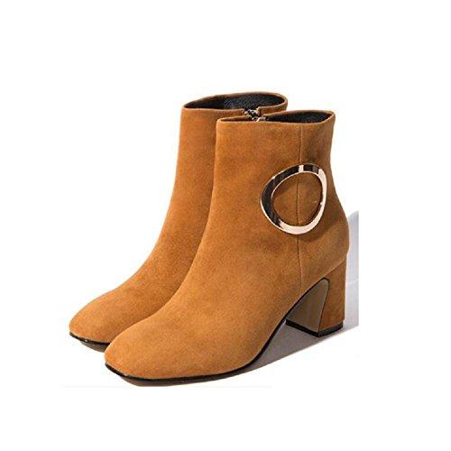 YYH Bottes Nubuck boucle Casual en cuir femmes mince nue dans chausson chaussures chaudes