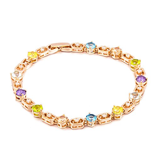 "Romantic Time ""Bright Life"" Colorful Stone Boxes Linked 18k Rose Gold Plated Tennis Bracelet"
