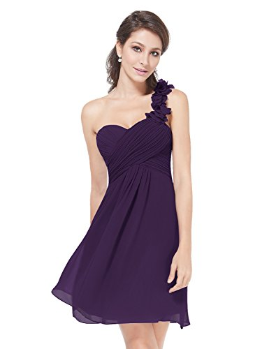 Ever Pretty Womens One Shoulder Knee Length Wedding Guest Dress 12 US Purple