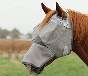 Cashel Fly Mask With & Without Ears and/or Nose 7 Sizes (With Nose Only, Horse)