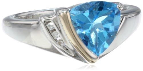S&G Sterling Silver, 14k Yellow Gold, Diamond, and Swiss Blue Topaz Ring (1/10 cttw, I-J Color, I3 Clarity), Size 6