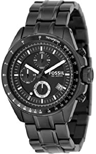 Mens Watch Fossil CH2601 Black Stainless Steel Quartz Chronograph Link Bracelet Mens Watch Fossil