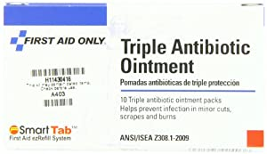 First Aid Only Triple Antibiotic Ointment Pack, 0.5 Gram, 10-Count (Pack of 10)