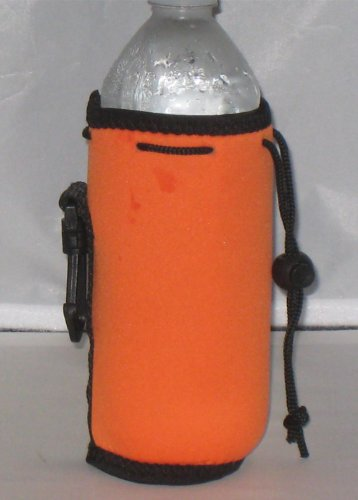 Water Bottle Koozie 2 Pack With Drawstring & Clip, Orange front-829421