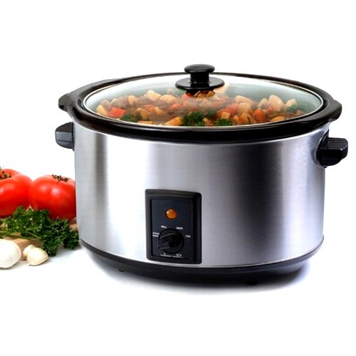 8.5 Quart Stainless Steel Crock Pot Slow Cooker with Tempered Glass Lid (Cast Iron Low Carb Cookbook compare prices)