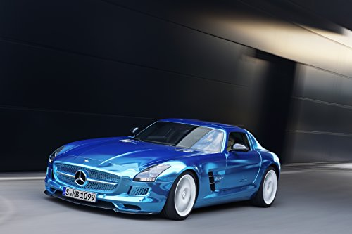 """Mercedes-Benz Sls Amg Electric Drive Concept (2012) Car Art Poster Print On 10 Mil Archival Satin Blue Front Side Motion View 11""""X14"""""""