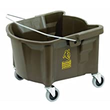 "Continental 226-3BZ, Bronze Splash Guard Mop Bucket with 3"" Grey Non-Marking Casters and International Caution Symbol, 26 quart Capacity (Case of 1)"