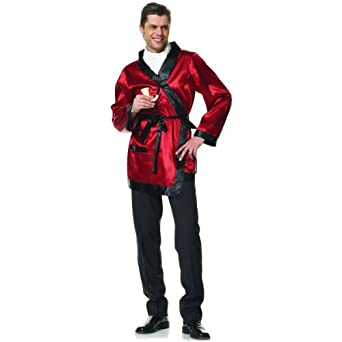 Hugh Hefner Style Bachelor Smoking Jacket Robe Red