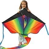 子供のための巨大な虹カイト - ベストセラー空中での全幅43インチ -風に浮かびます-簡単で完璧なフライヤー -軽量かつ強力 -満足保証