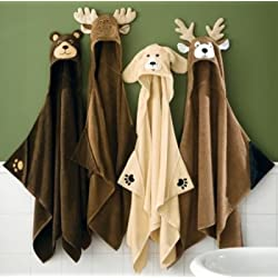 Kids Moose Hooded Towel Brown