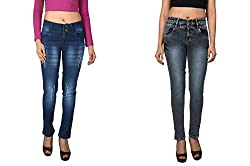 WineGlass Combo of 2 Ankle Fit Womens Stretch Denim Jeans 734CH735DK