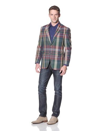 Hart Schaffner Marx Men's Plaid Notch Lapel Sportcoat  [Blue Multicolor]