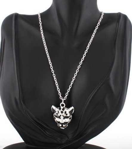 Ladies Silver Iced Out Cheetah Head Style Pendant with a 27 Inch Link Chain Necklace