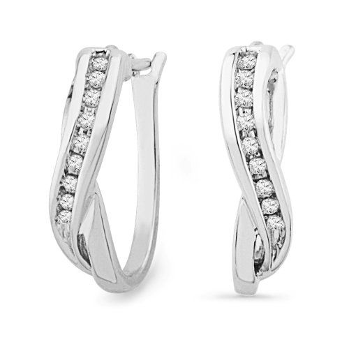 Platinum Plated Sterling Silver Round Diamond Hoop Earring (1/10 cttw)