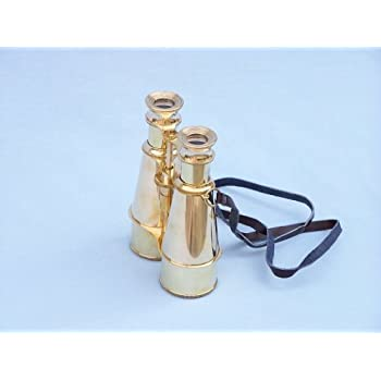 "Hampton NauticalCaptain's Solid Brass Binoculars, 6"", Brass"