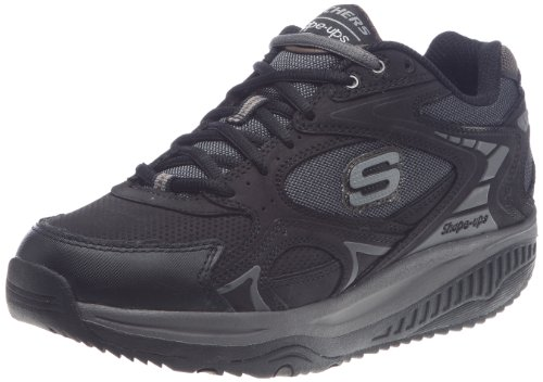 Skechers Men's Shape-Ups Xt Black Leather/Mesh/Charcoal Trim Lace Up 52007 7 UK