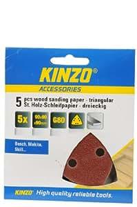 Kinzo 71728 5 Triangles Papier abrasif à bois 90 x 90 x 90 mm G80