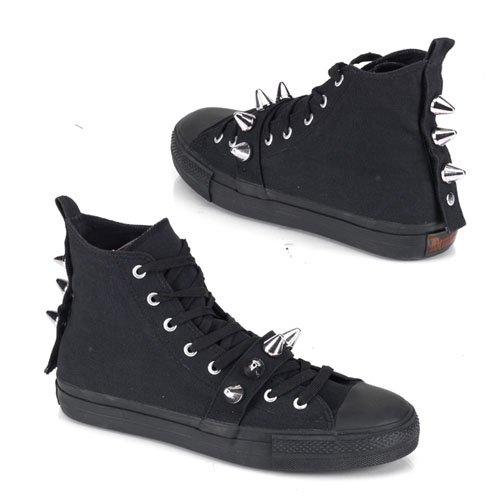 DEVIANT-104 MENS Canvas High Top Chuck Taylor Converse Style Shoes Rocker Studded Sneaker Black