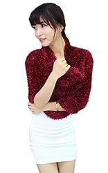 Xinliya Magic Stretch Scarf Hood Wrap Multiple Style Shawl Neck Warmer Cardigan (Dark Red)
