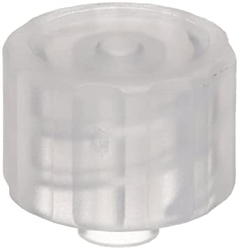 Value Plastics LP4-6 Natural Polypropylene Tube Fitting, Male Luer Integral Lock Ring Cap, Closed at Grip (Pack of 25)