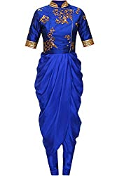 Royal Blue georgette dhoti style dress