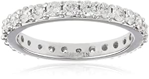 18k White Gold Bead-Set Diamond Eternity Ring (1 cttw, H-I Color, SI1-SI2 Clarity), Size 4.5