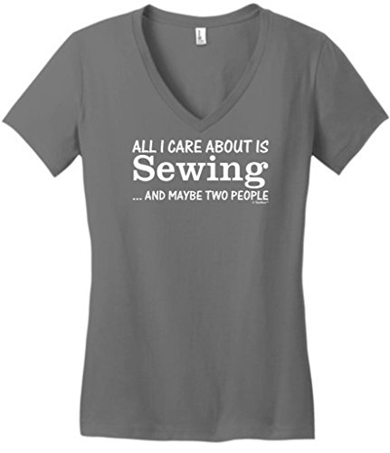 All I Care About Is Sewing And Maybe Two People Juniors V-Neck Small Grey