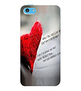 ColourCraft Love Quote Design Back Case Cover for APPLE IPHONE 5C
