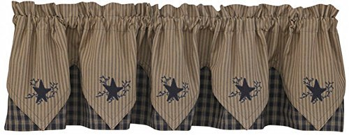 Park Designs Sturbridge Star Embroidered Point Valance, Navy