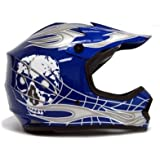 TMS® Youth Blue/silver Skull Dirt Bike Motocross Helmet Mx (Medium)