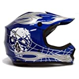 Youth Blue/silver Skull Dirt Bike Motocross Helmet Mx (Large)